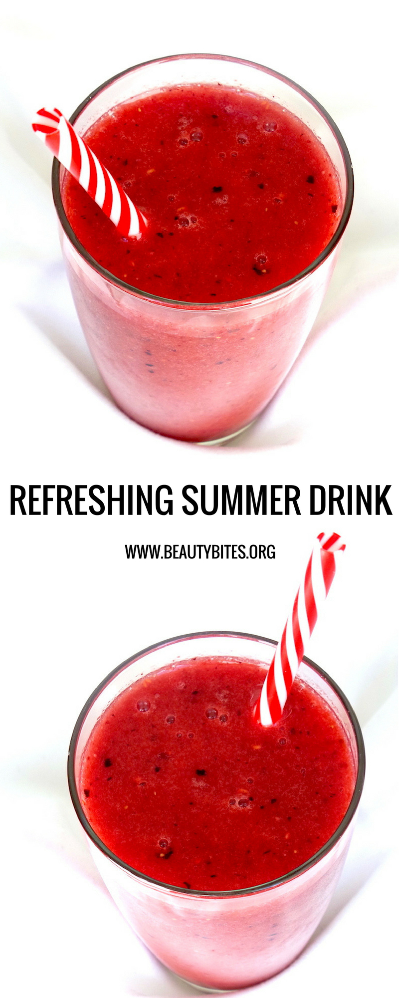 Healthy Watermelon Smoothie Recipe with Strawberries - a tasty and refreshing healthy summer drink | www.beautybites.org