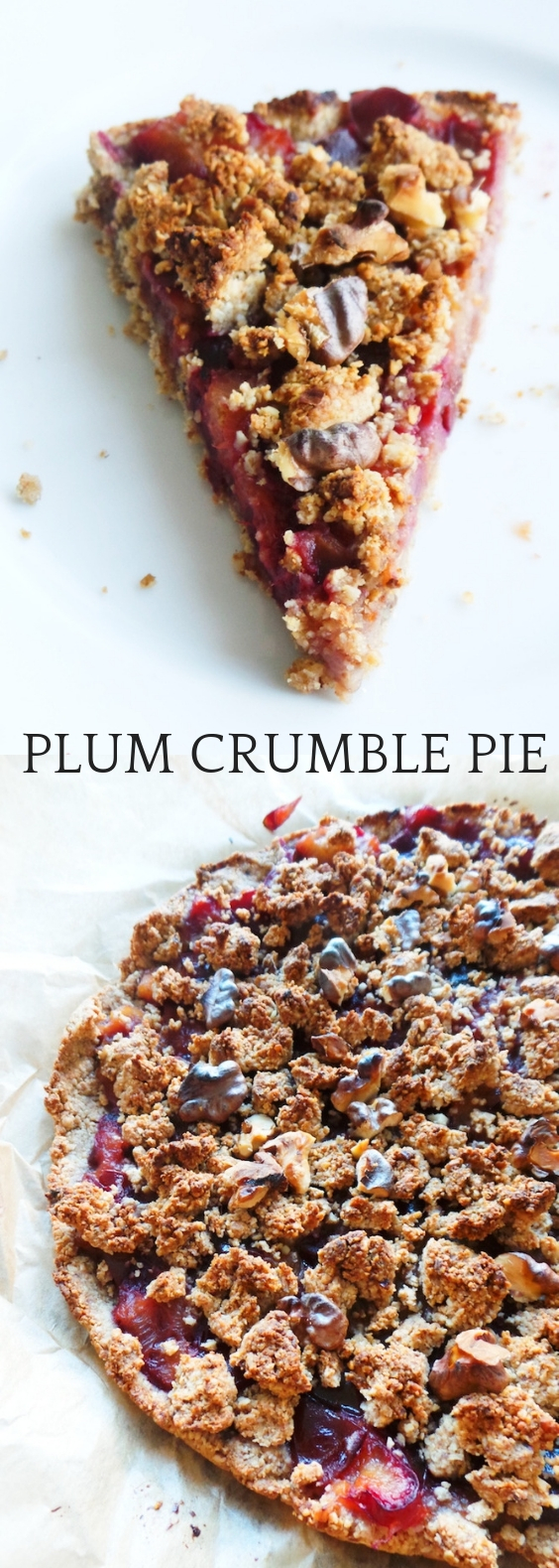 Healthy Plum Pie! This plum crumble pie is delicious, easy and vegan. Try this easy plum recipe for a meal prep breakfast or as a not-so-sweet, tasty and healthy dessert.