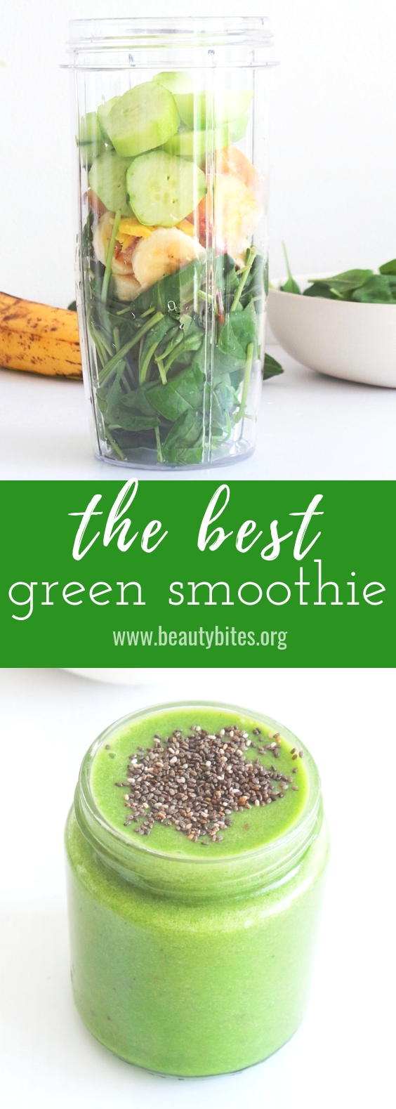 The best green smoothie ever! This healthy breakfast recipe will give you the energy you deserve in the morning. It is made with spinach, banana, ginger and a few other easy to find fruits and vegetables! It will help detox your body and make you feel great. Drinking this healthy smoothie daily can also help with weight loss and reducing chronic inflammation, because it contains a number of anti-inflammatory and fat-burning foods.