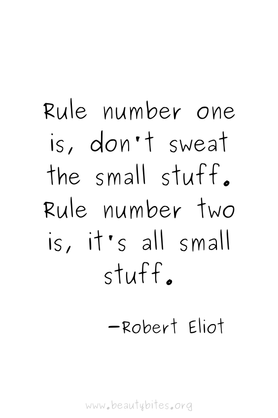 Rule number one is, don't sweat the small stuff. Rule number two is, it's all small stuff. | positive quotes | motivational quotes | funny quotes | Robert Eliot