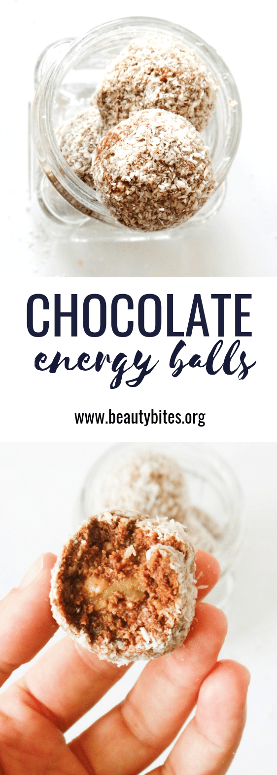 these vegan chocolate energy balls are the perfect healthy snack when you crave something sweet, especially chocolate! They're a good meal prep recipe, since they keep in the fridge (3 days) or freezer. These power balls are vegan, gluten-free and paleo!
