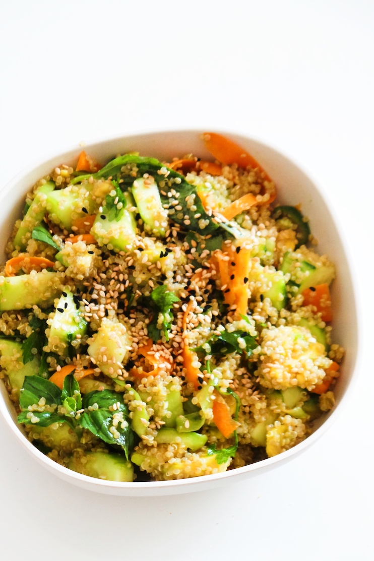 The best avocado quinoa salad! This is becoming my favorite quinoa recipe! Healthy and easy this quinoa salad is made with avocado, cucumber, carrot, basil and sesame seeds - so tasty and perfect choice for healthy lunch or dinner! Even if you're not obsessed with clean eating, you'll love this quick and healthy salad recipe!