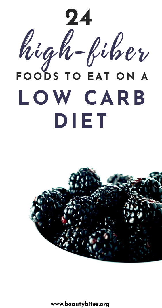 24 high-fiber low carb foods to eat on a low carb or keto diet! Include these healthy foods in your ketogenic diet recipes to keep your digestive and cardiovascular health on track! These foods will be great in most keto meals including keto dinners, keto breakfasts, keto desserts or keto lunches.