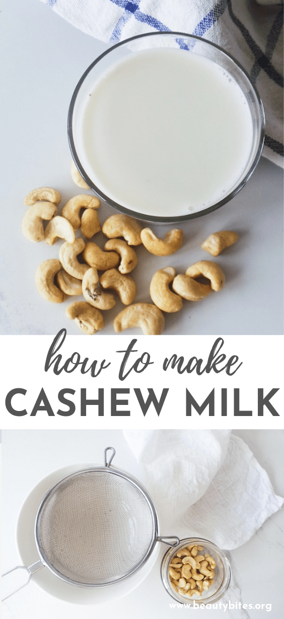 Easy cashew milk recipe! This milk recipe requires only 2 ingredients, so that you can stay flexible in how you use it - you can use it in savory dishes and sauces or in your breakfast chia pudding or oatmeal! Simple and delicious!