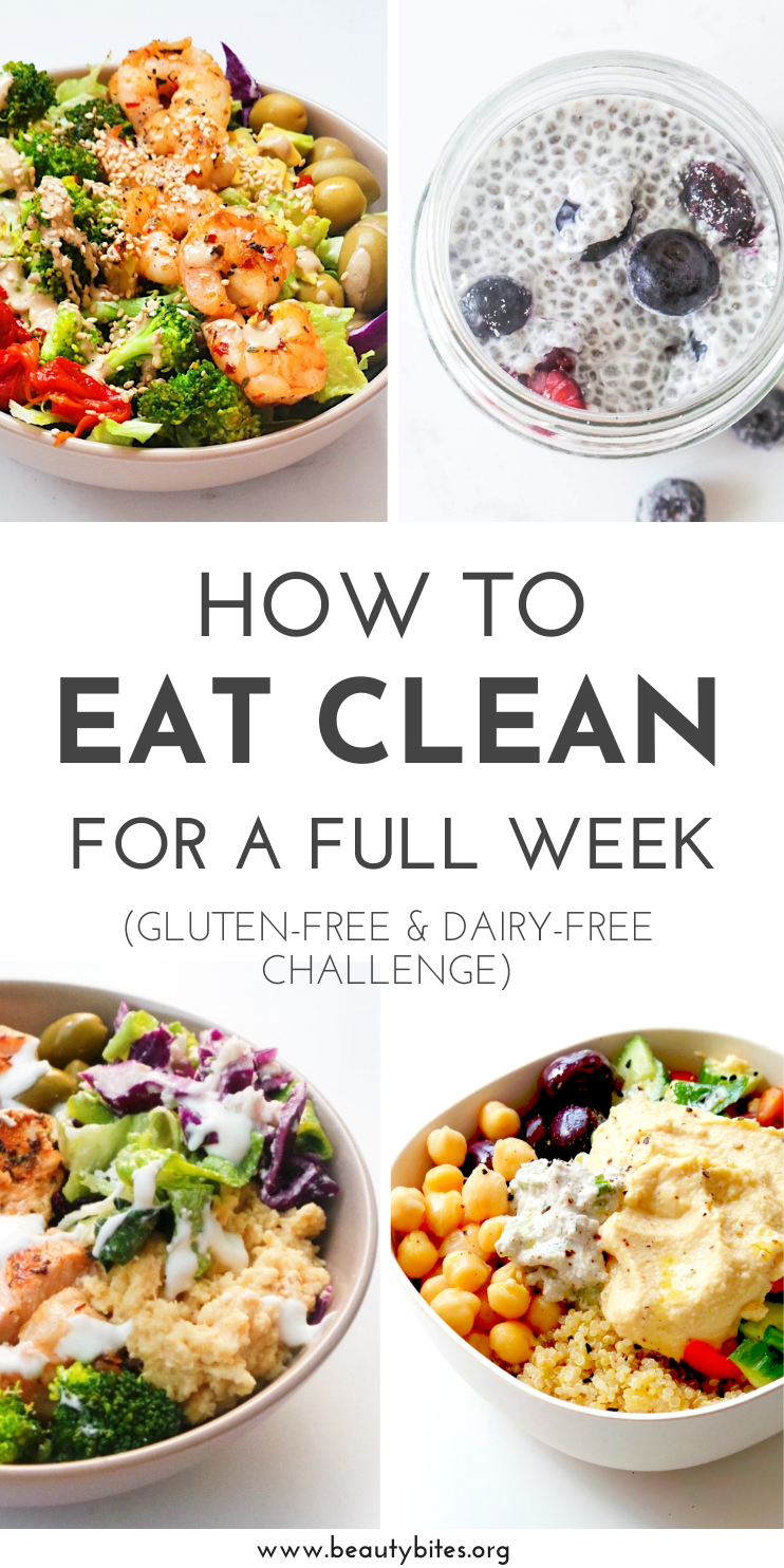7-Day Dairy-Free Gluten-Free Meal Plan and Challenge with healthy and tasty anti-inflammatory recipes to have more energy, feel better and maybe even lose weight! The challenge includes dairy-free and gluten-free recipes for breakfast, lunch and dinner and you can meal prep or make ahead most of them. Also included: dairy-free and gluten-free grocery list and printable meal planner | Anti-Inflammatory Diet | Clean Eating For Beginners