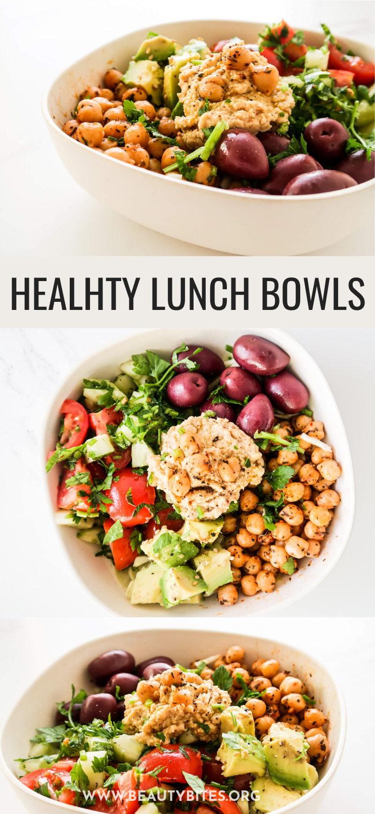 20-Minute Mediterranean Lunch Bowl! This healthy lunch idea is super tasty, very easy to make, vegan and gluten-free. If you're eating healthy and making your meals ahead for the week, this clean eating vegan lunch bowl also comes with an easy meal prep option that will help you eat clean for the entire week! #lunch #Mediterranean #vegan #glutenfree