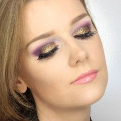 New Year's Makeup – purple and gold glitter
