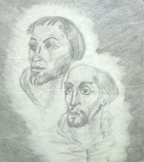 2 mannen bijbels tekening