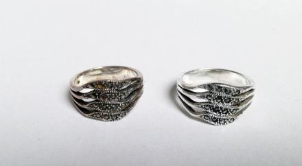 voor en na schoonmaken ring