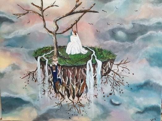 schilderij floating island