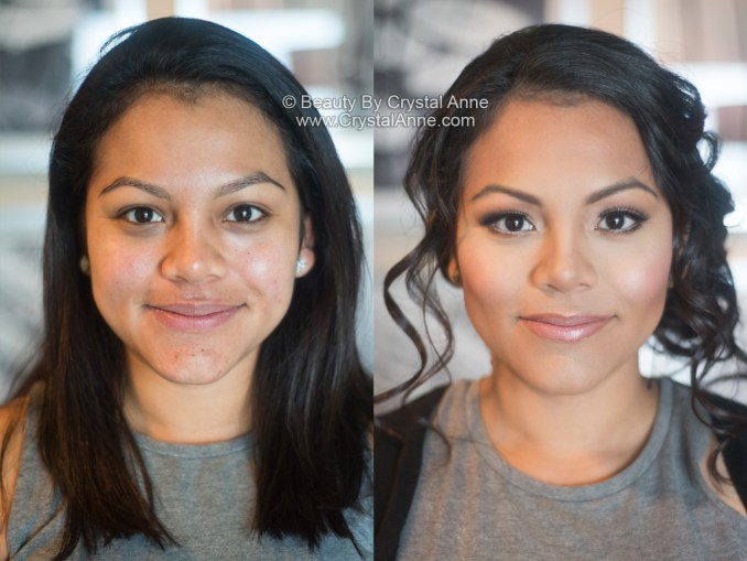 dewy airbrush bridal makeup & curly side updo - houston hair