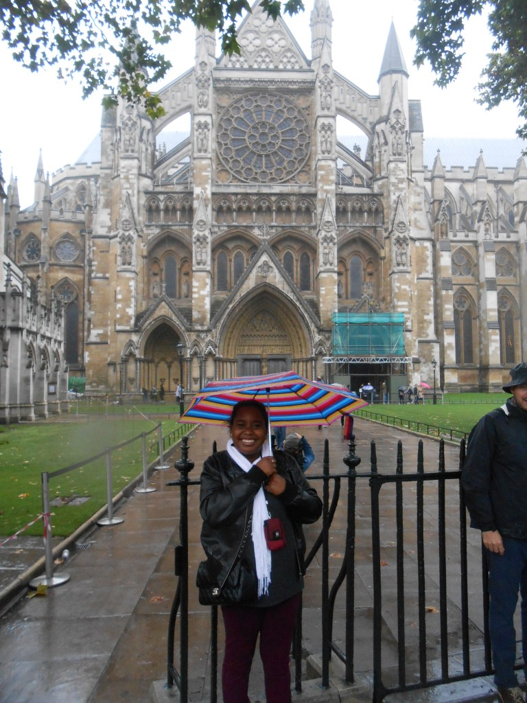 Posing in front of Westminster Abbey, the place of marriage for royals (and my parents)!