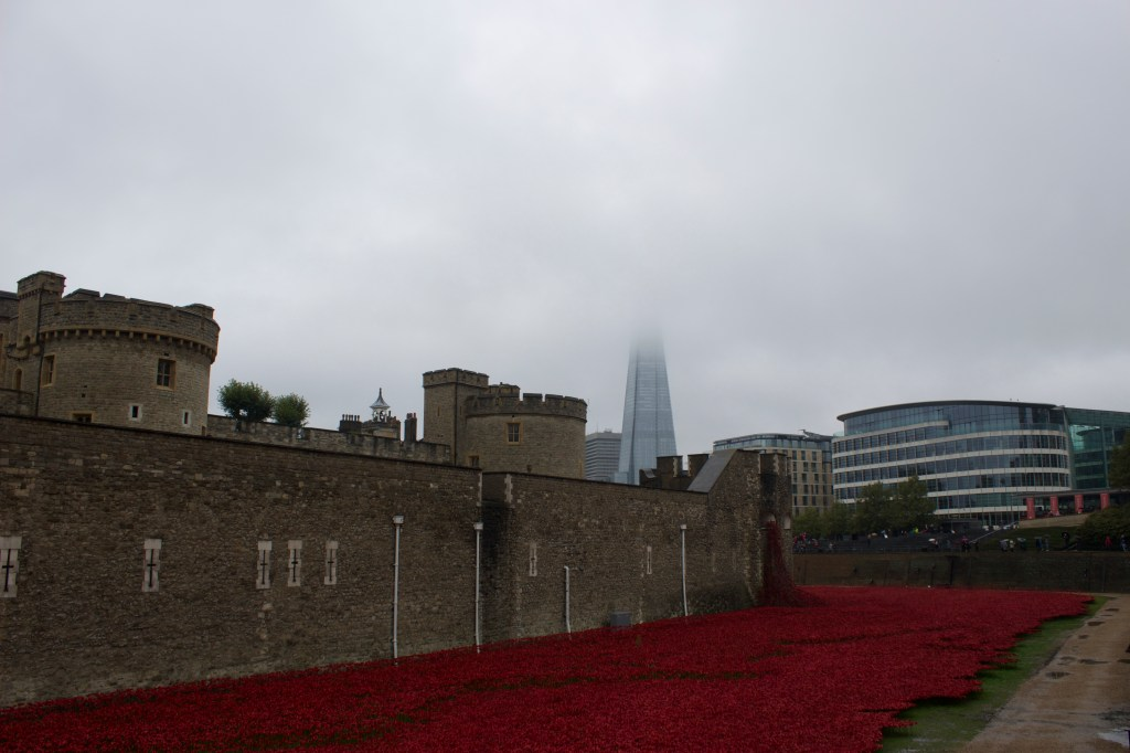 Tower of London (left), The Shard (the tall building in the centre covered by fog), and the beautiful ceramic poppy display.