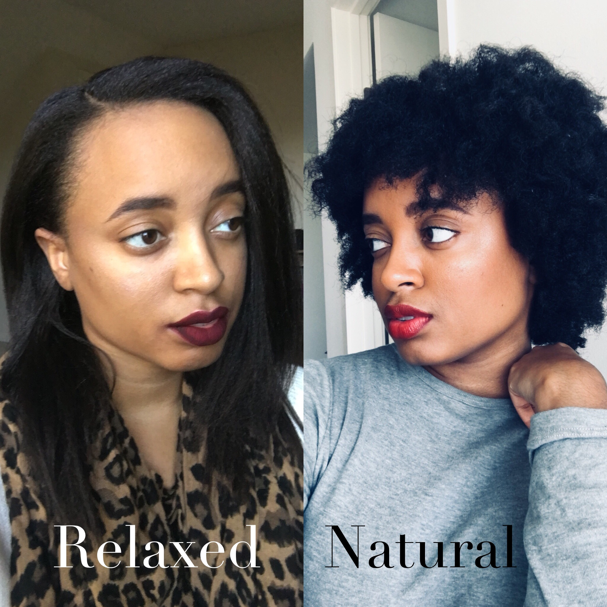 Image showing Shuna Rae with relaxed hair on left and natural hair on right.
