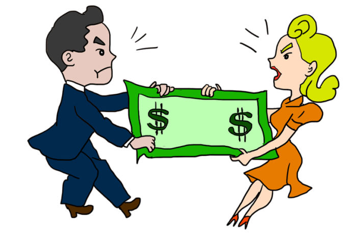Couple Fighting Overspending and Wasting Money