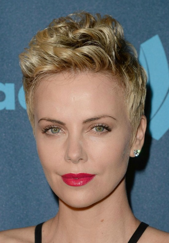 Charlize Theron Cute Curly Pixie Cut