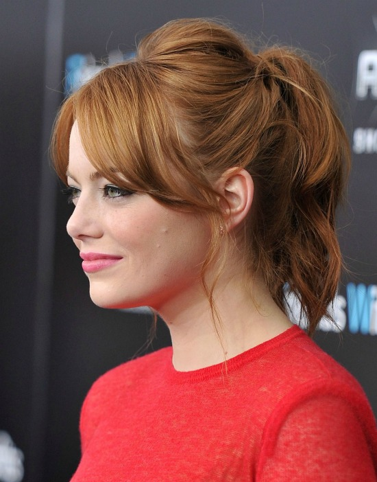 Emma Stone Hairstyles Ponytail with Bangs