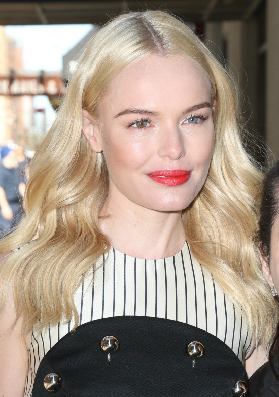 Kate Bosworth Center Parted Long Blond Hairstyle