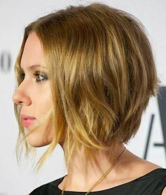 Scarlett Johansson Angled Bob Hairstyle