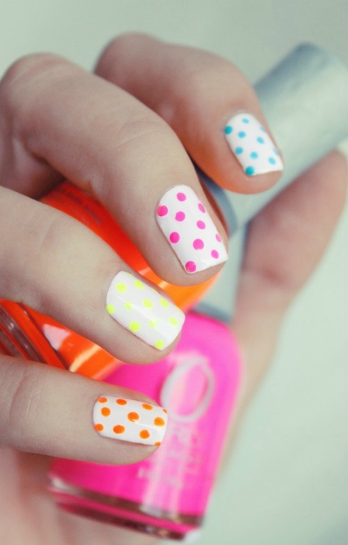 Multi Color Polka Dot Nail Art