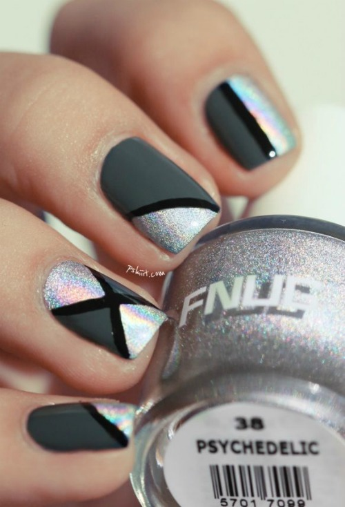 black and silver Geometric Nail Art