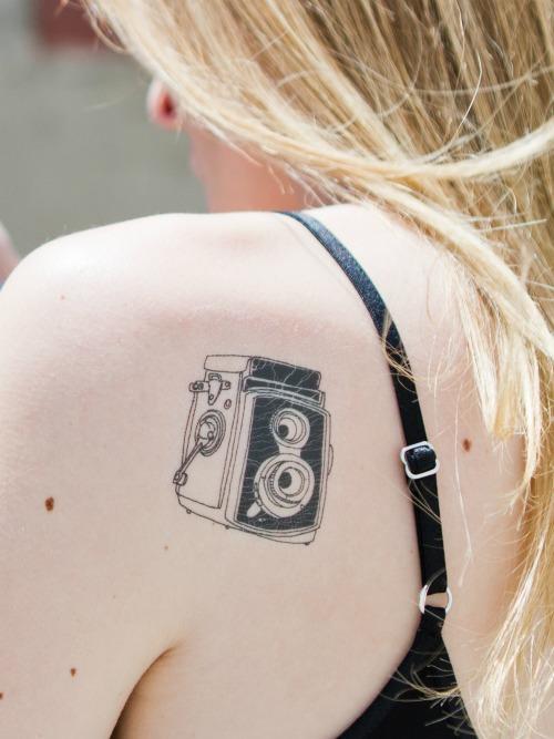 Back Shoulder Camera Tattoo