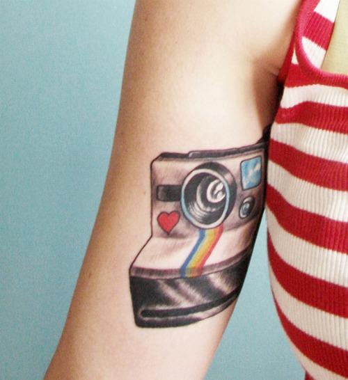 Colored Camera Tattoo on Arm