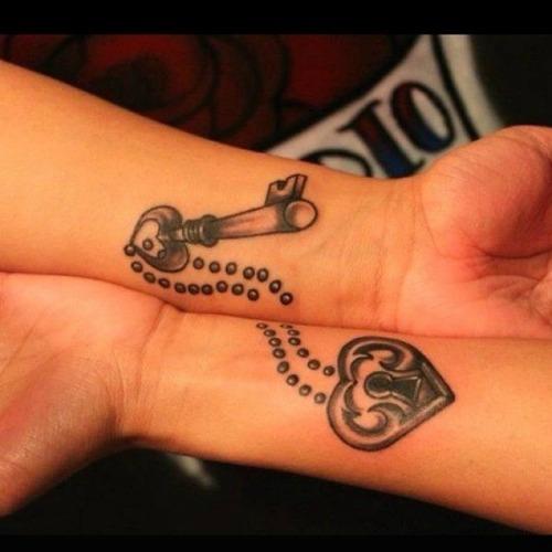 couple tattoo designs lock and key