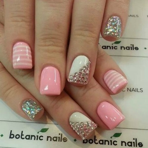 Simple Rhinestone Nail Designs for Short Nails
