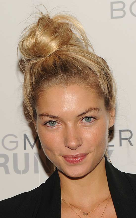 JESSICA HART top Knot Hair style