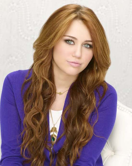 Miley Cyrus Curly Hair with Bangs