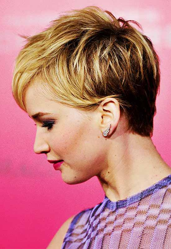 jennifer lawrence Trendy Curly and Wavy Pixie Cuts