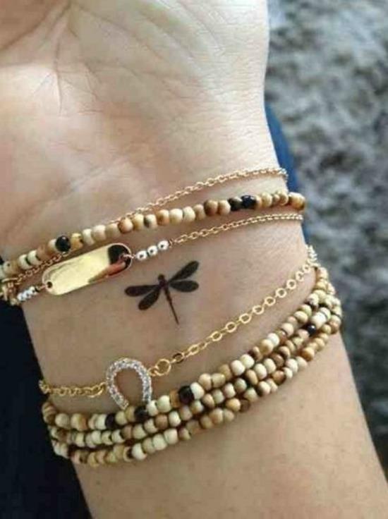 Small Dragonfly Tattoo Design on Wrist