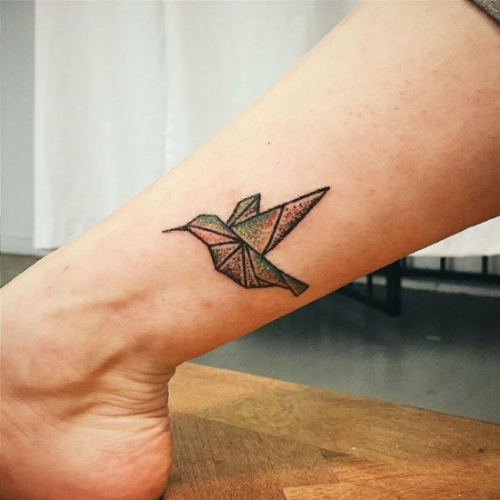 Small Hummingbird Tattoo on Leg