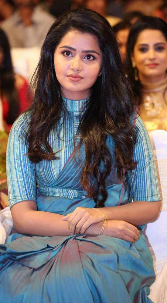 Anupama parameswaran In peal Blue Saree