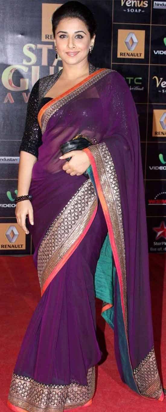 Vidhya-Balan-Ethnic-Party-Wear-Designer-Net-Wine-Saree