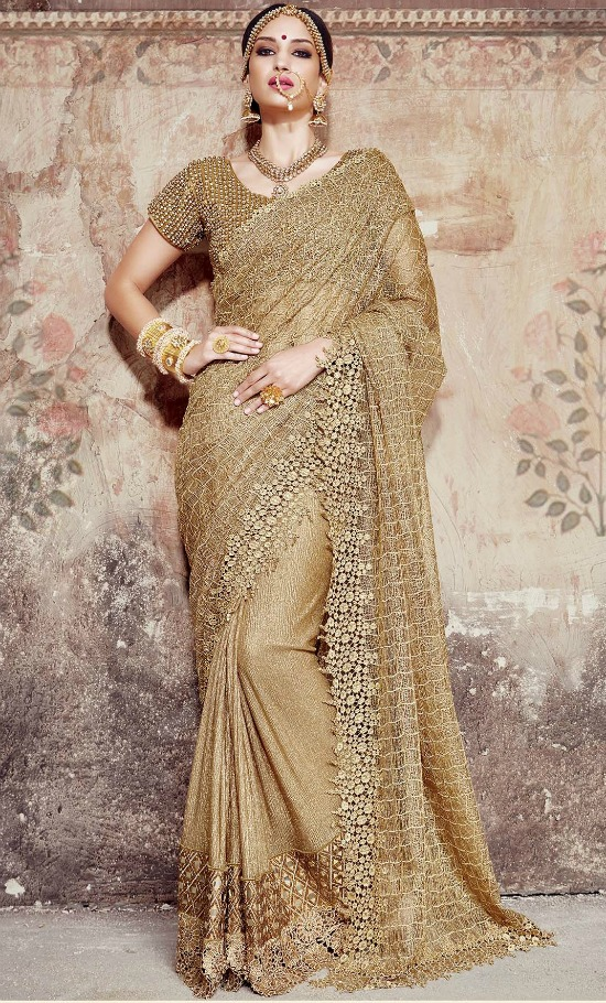 Gold Designer Indian Wedding Wear Saree With Bubble Work Blouse