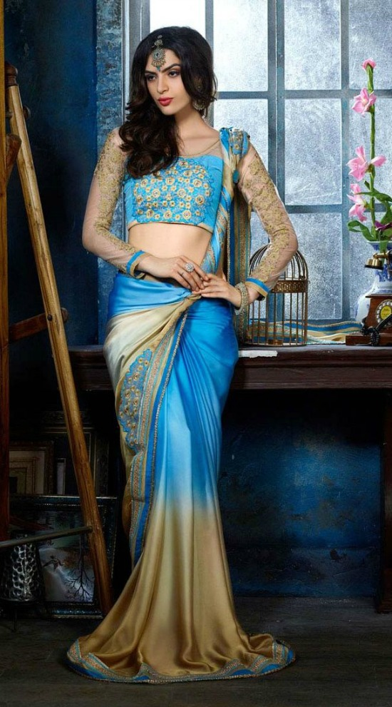 Sky Blue And Cream Georgette Embroidered Saree