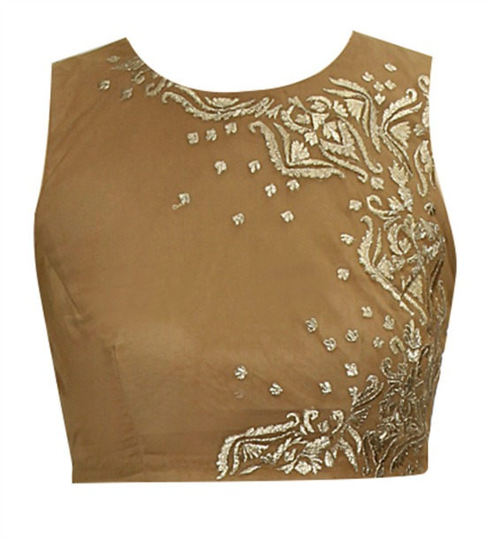 Dull Gold Embroidered Crew Neck Crop Top