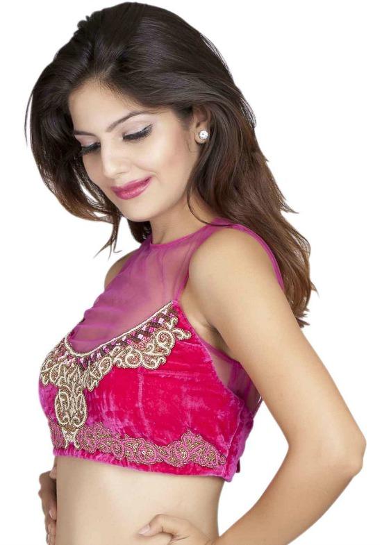 Pink Velvet Sheer Yoke Sleeveless Blouse