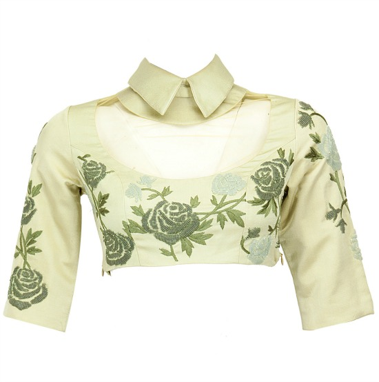 Sage Beaded Cropped Collared Blouse With Sheer Yoke