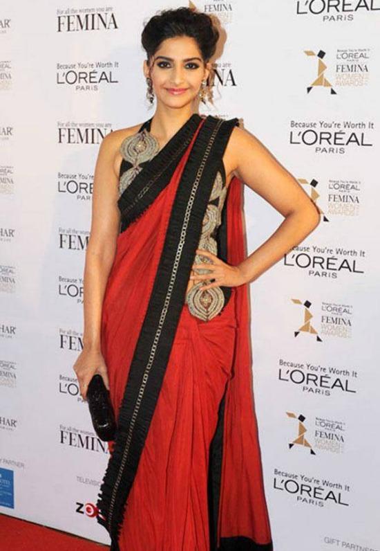 Sonam Kapoor In Long Jacket Styke Designer Bloouse