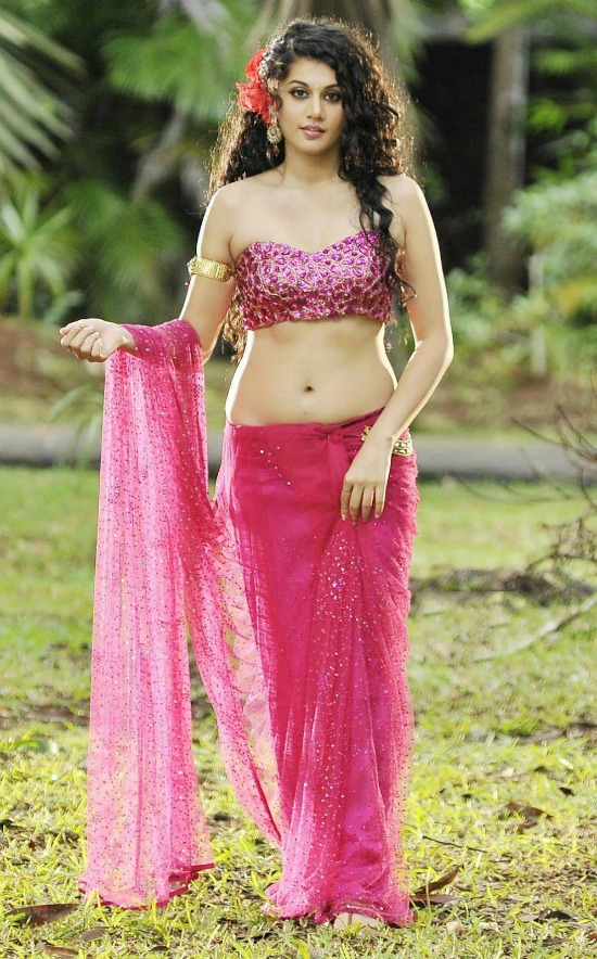 Taapsee In Pink Embllished Saree With Corset Blouse