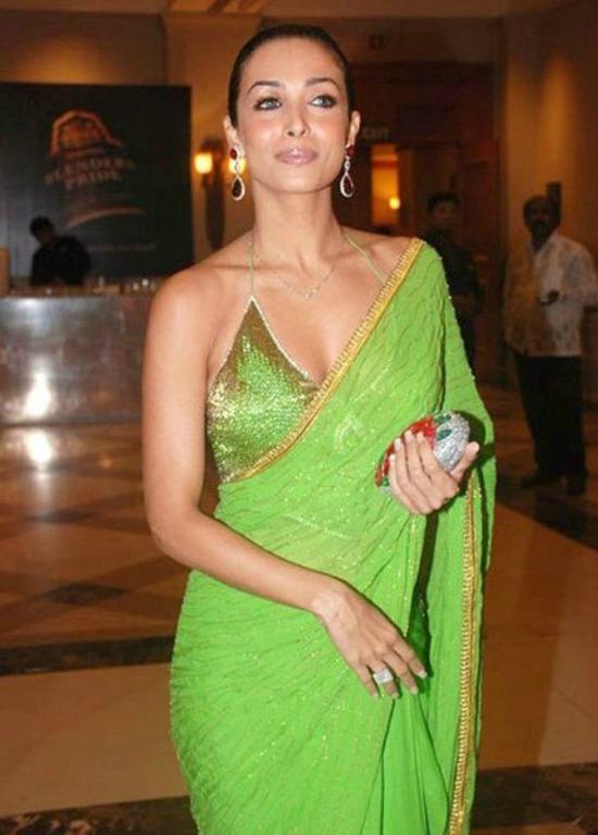 Malaika In Plain Saree Paired With Bikini Blouse Green Saree