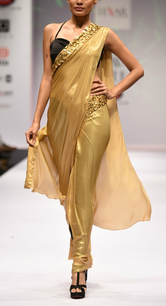 Shiny Golden Saree and Bralette Blouse
