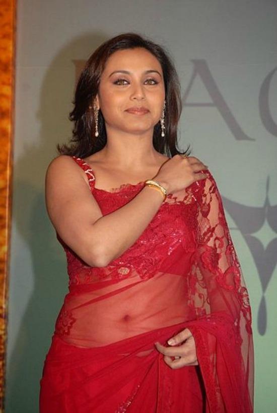 Rani Mukerji Wearing Red Transparent Net Saree