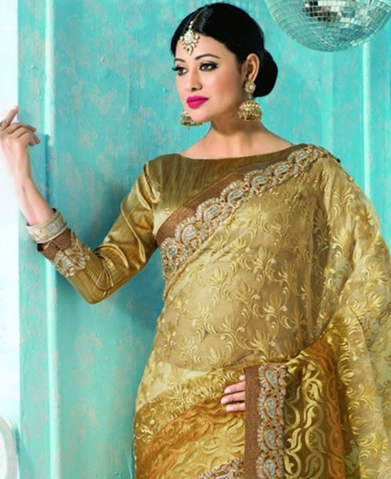 Beige And Golden Designer Saree Paired With Boat Neck Blouse