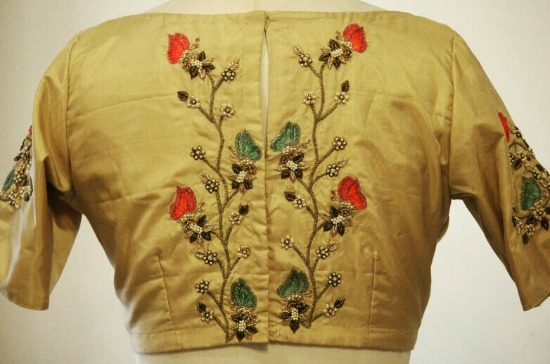 A Butterfly Embroidered Silk Blouse With Zardosi and Zari Work