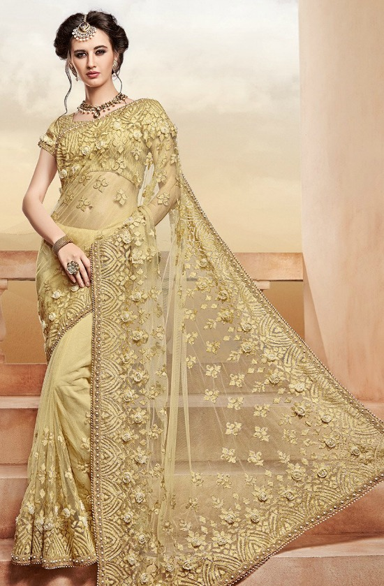 Embroidered Net Saree in Beige And Gold Blouse