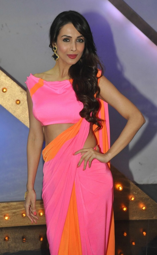Malaika Arora Khan In Dual Color Saree With Boat Neck Blouse